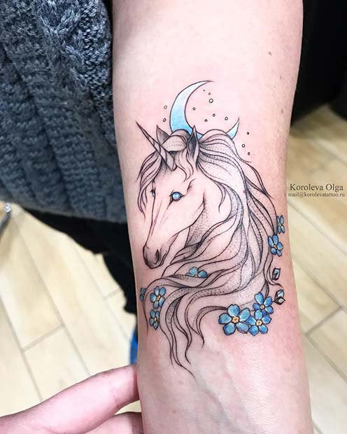 Unicorn tattoo design art