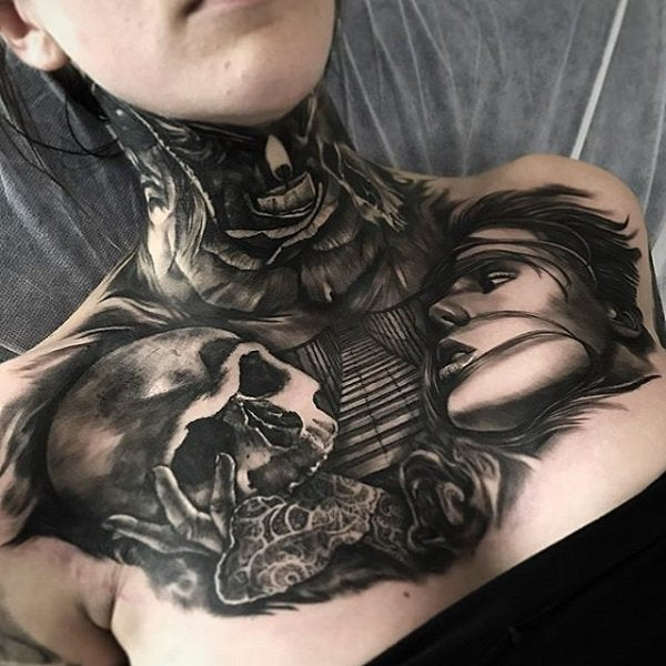 skull full neck tattoo
