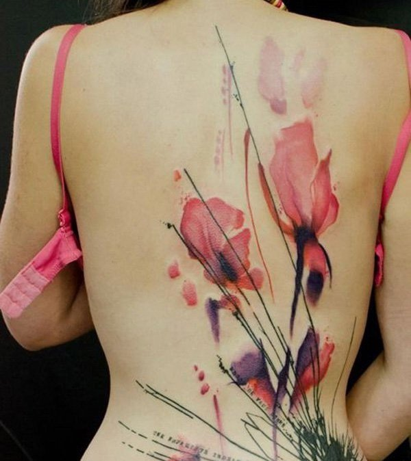 flower backpiece tattoo
