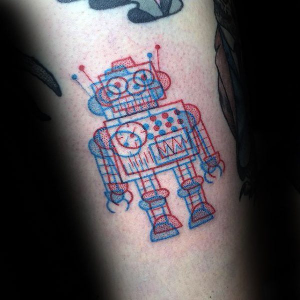 3d robot tattoo design