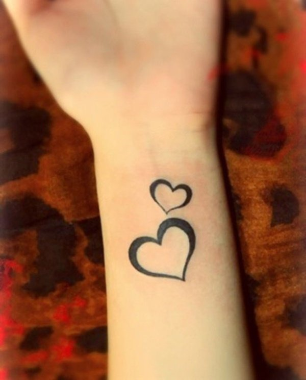 simple hearts tattoo