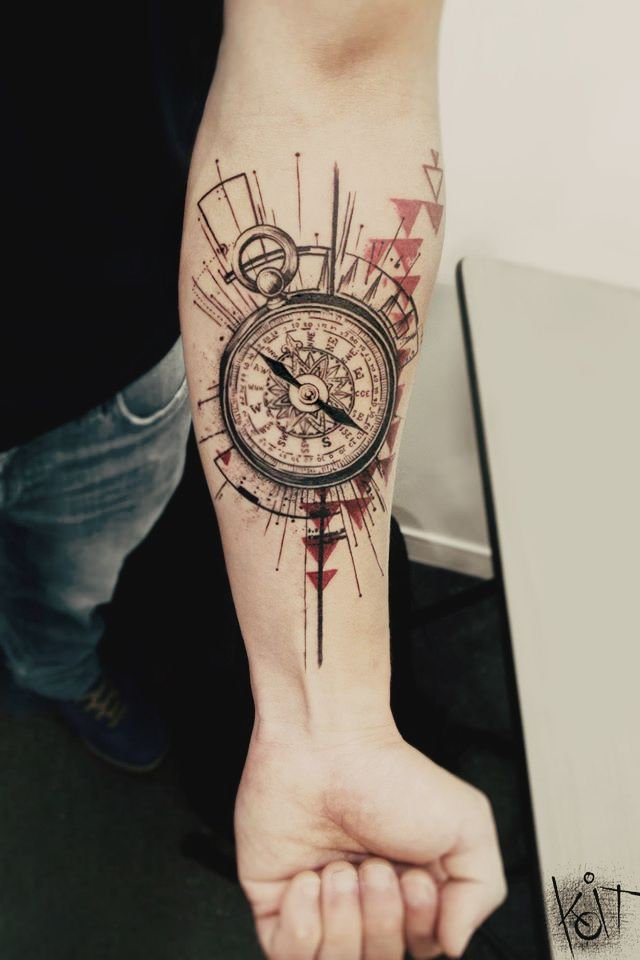 compass collage tattoo