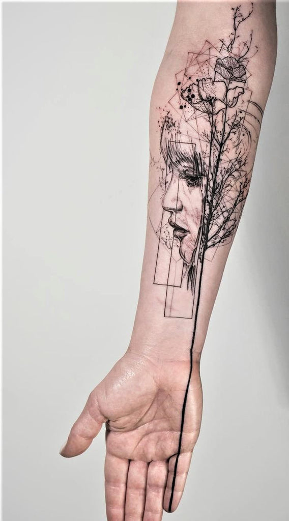 woman tree arm abstract colorful design collage tattoo art