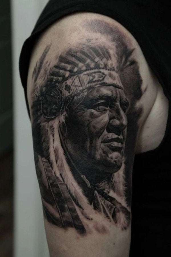 native indian tattoo arm design