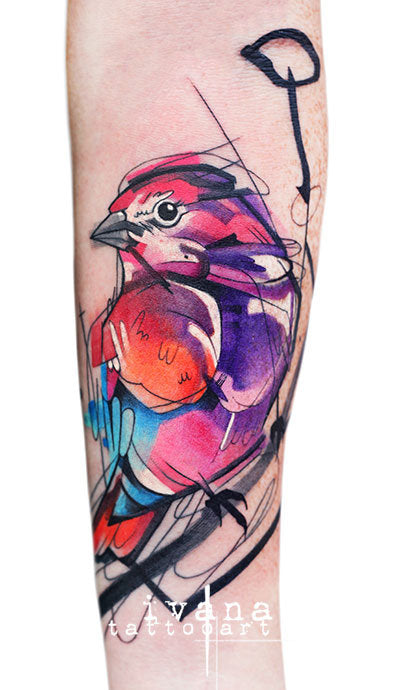 bird arm abstract colorful design collage tattoo art