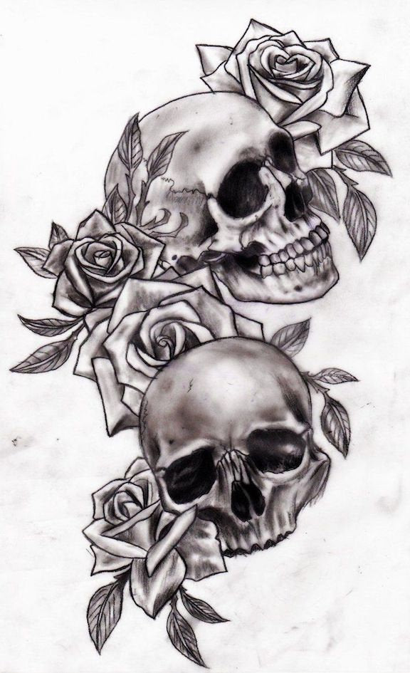 Rose Skull Temporary Tattoo