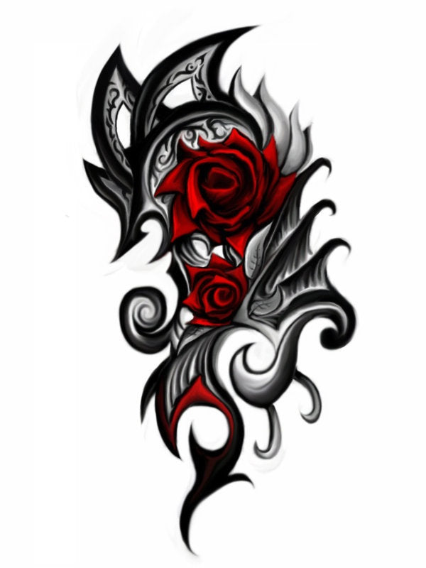 tribal rose tattoo art