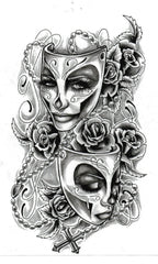 woman mask tattoo art