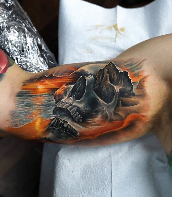 Skull fire collage tattoo design