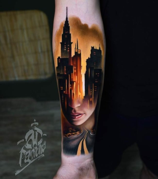 city arm tattoo
