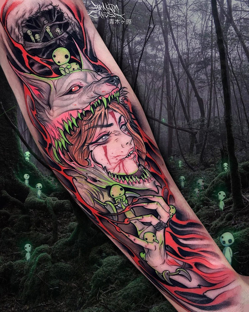 woman collage arm tattoo
