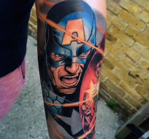 captain america arm abstract colorful design collage tattoo art