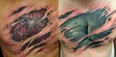 spiderman ripped tattoo