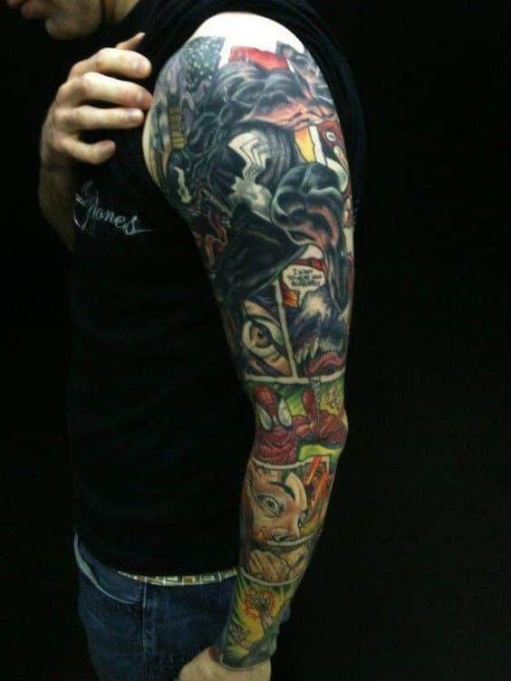superhero sleeve tattoo