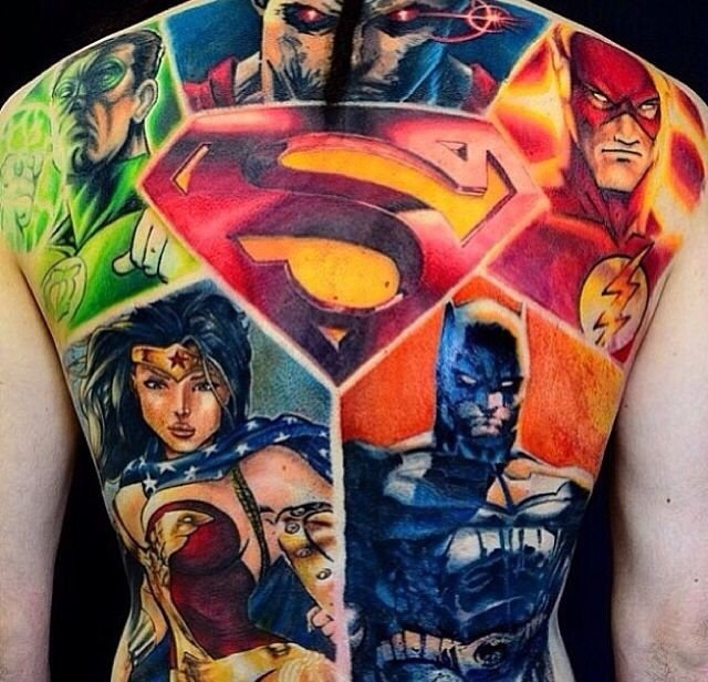 superhero full body tattoo