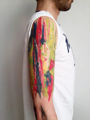 arm abstract colorful design collage tattoo art