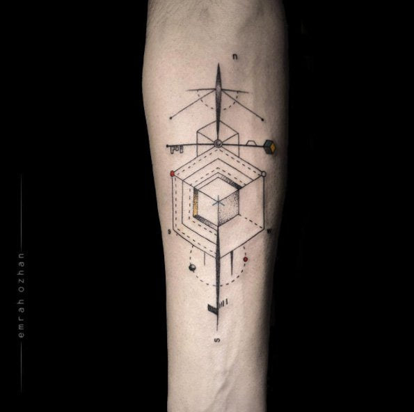 Various shape tattoo collage design image