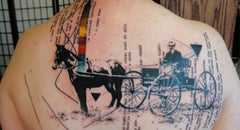 horse carriage abstract colorful design collage tattoo art