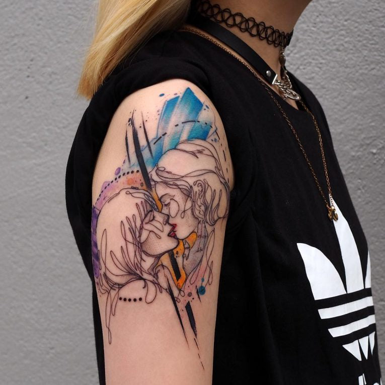 arm colorful design collage tattoo