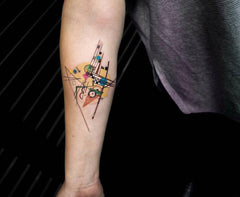 simple arm abstract colorful design collage tattoo art