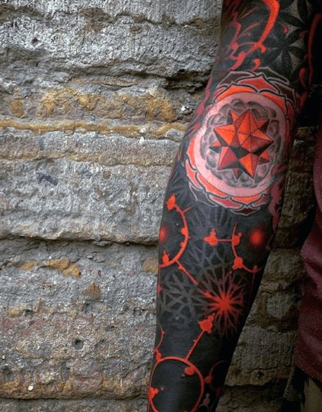 Red Black abstract colorful tattoo photo