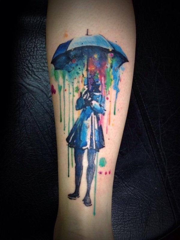 umbrella abstract colorful design collage tattoo art