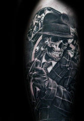 skull with hat tattoo