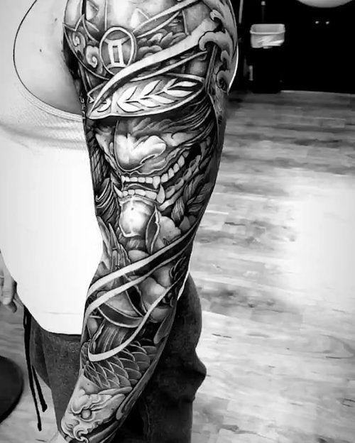 arm sleeve collage tattoo
