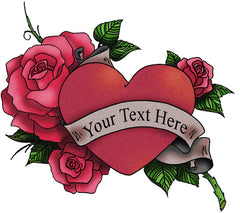 Add custom text Heart with Rose Tattoo