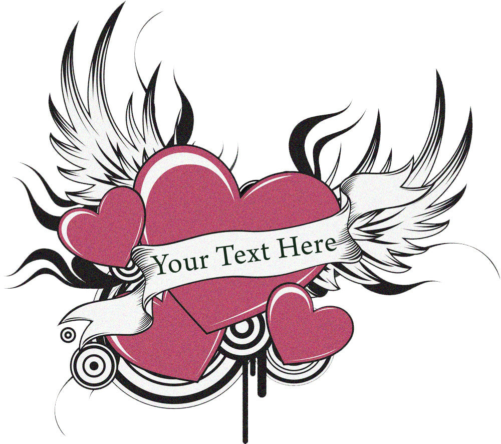 Heart Wings Tattoo Add Custom text