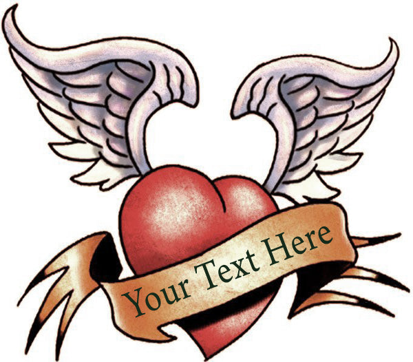 Winged Heart Tattoo - Add Custom text