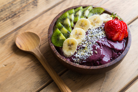 Acai bowls are made of blended acai and topped with fruit, but can be high in sugar.