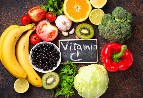 Vitamin C acts as an antioxidant to promote healthy aging.