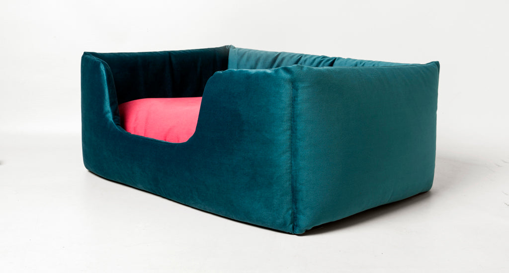 Charley Chau Deeply Dishy Dog Bed in Velour Teal and Fuchsia