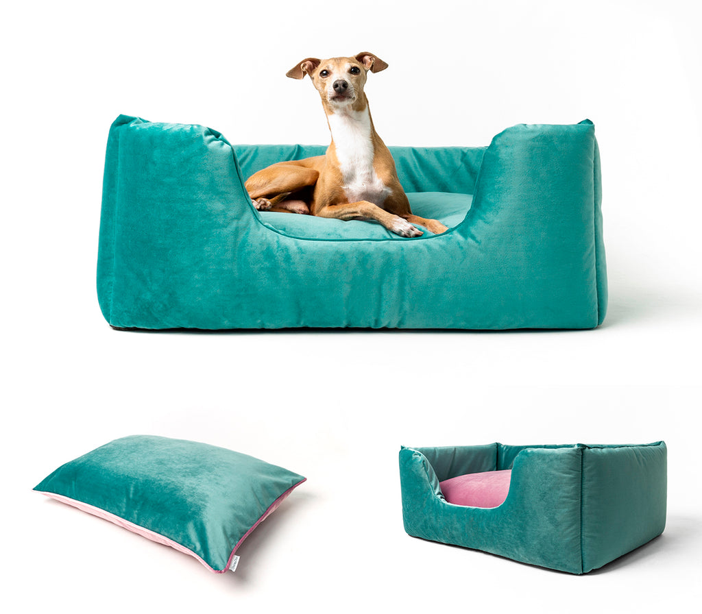 Charley Chau Deeply Dishy Dog Bed in Velour Aquamarine & Victorian Rose