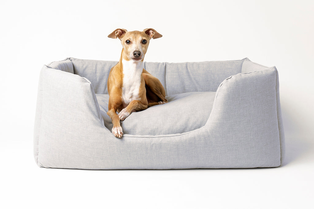 Charley Chau Deeply Dishy luxury dog bed in China Gray