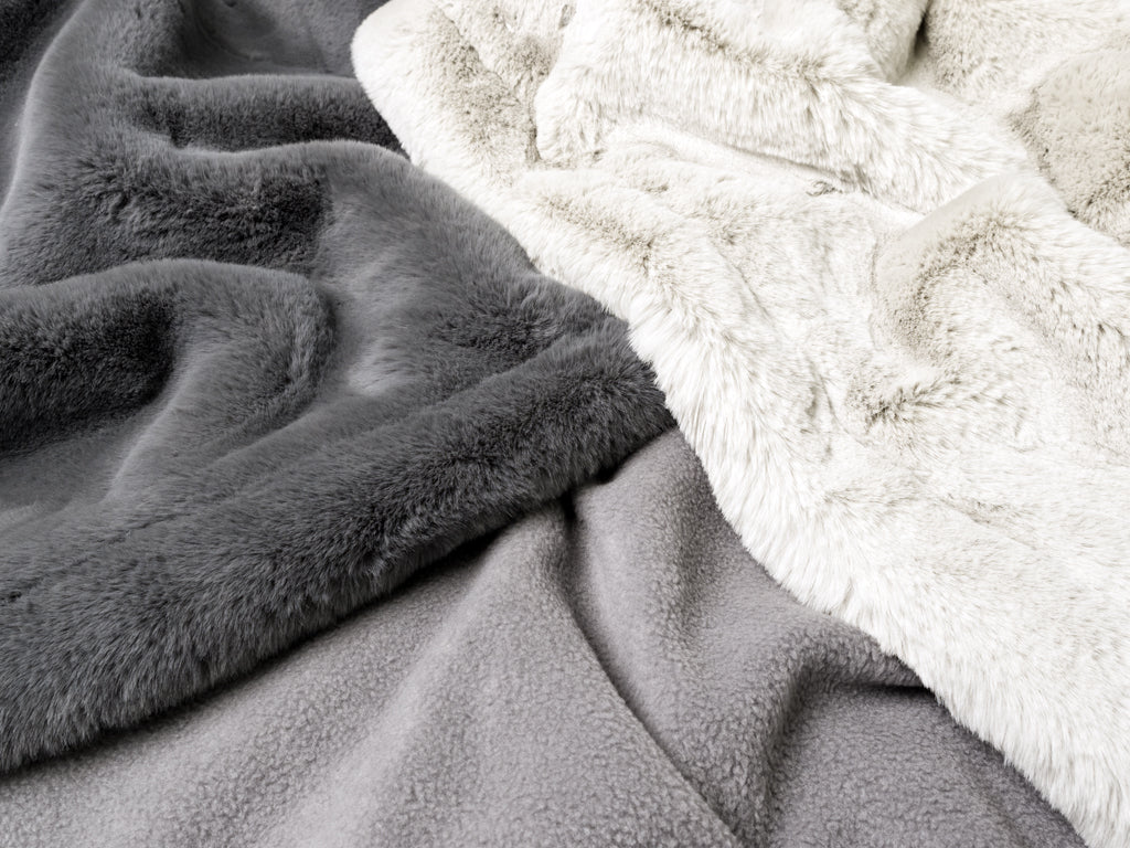 Charley Chau Faux-Fur Dog Blanket in Russian Blue and Silver Mink