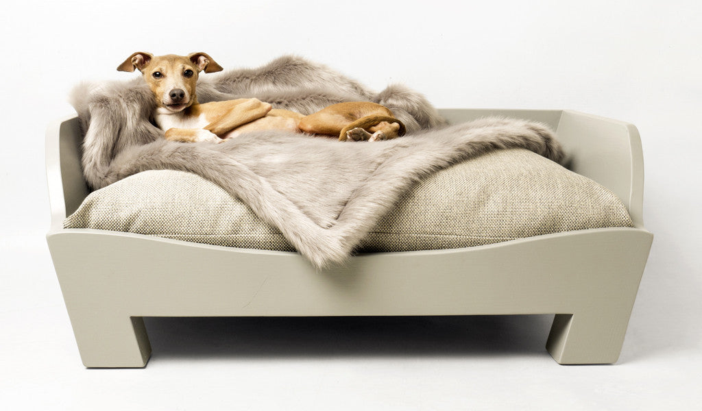 Raised Wooden Dog Bed in Farrow & Ball Manor House Gray
