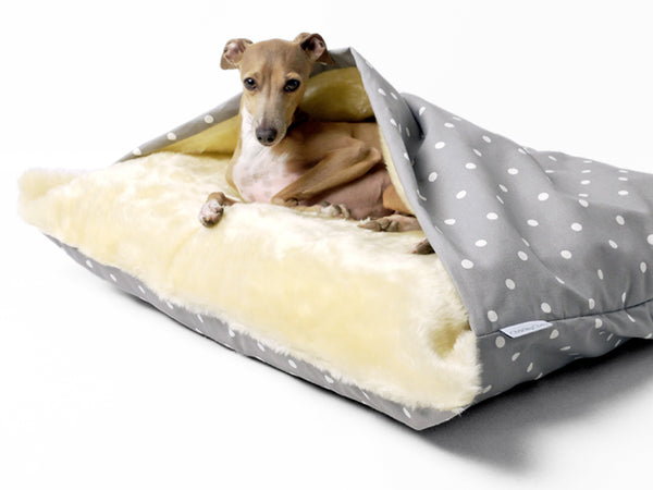 Charley Chau Snuggle Bed in Dotty Dove Grey