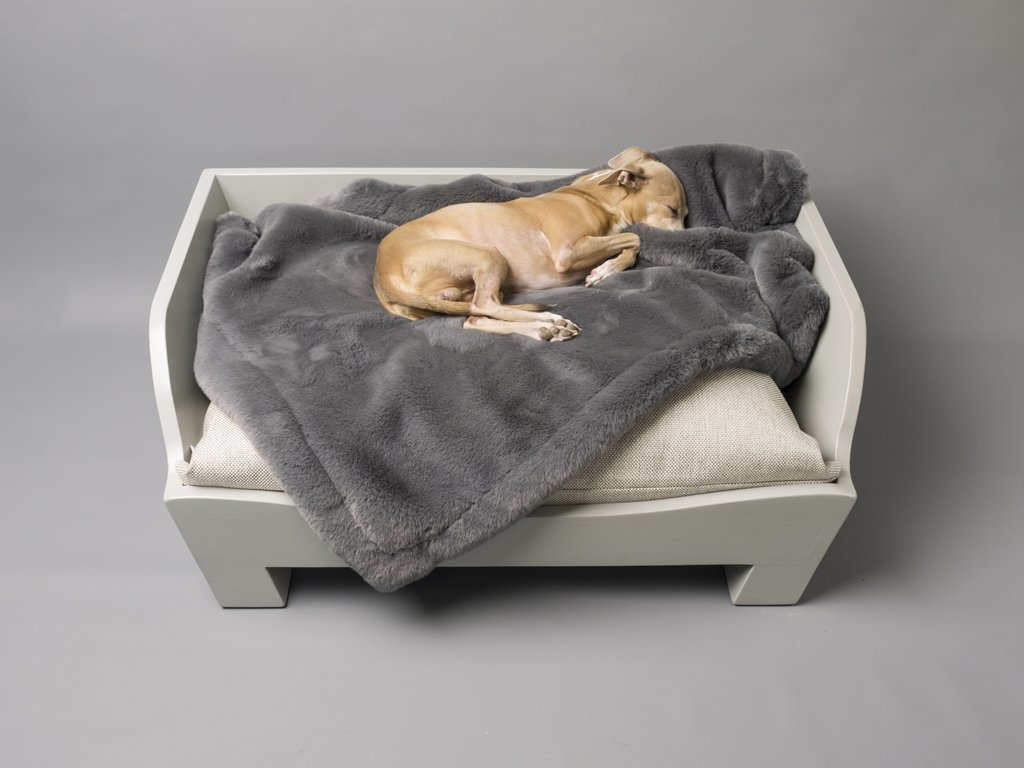 Charley Chau Faux-Fur Dog Blanket in Russian Blue