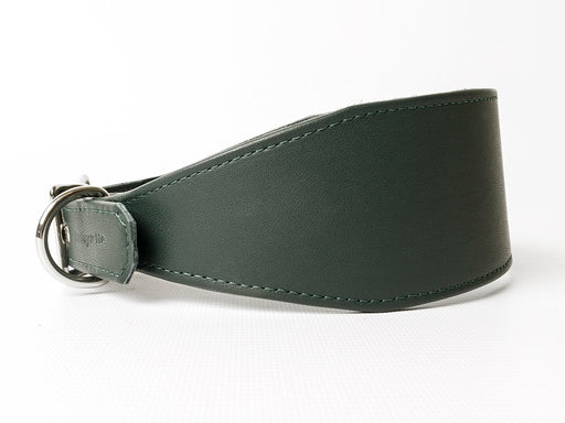 Bespoke Leather Greyhound Collar - Bottle Green - by Petiquette Collars at Charley Chau