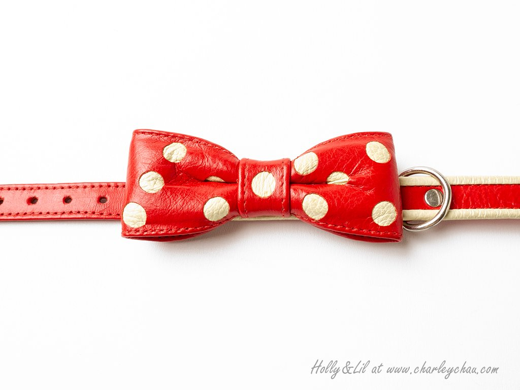 Bow Tie Leather Dog Collar by Holly&Lil
