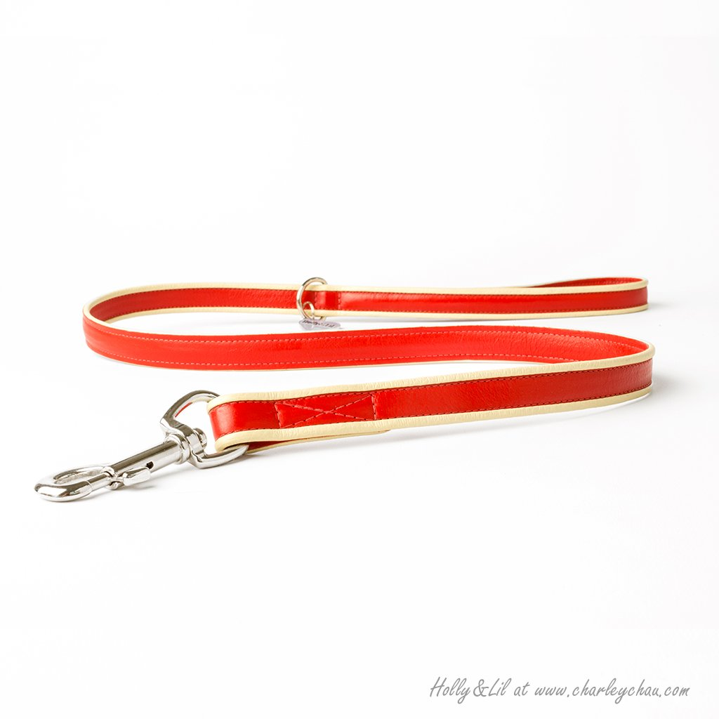 Bow Tie Piped Leather Dog Lead Collar by Holly&Lil