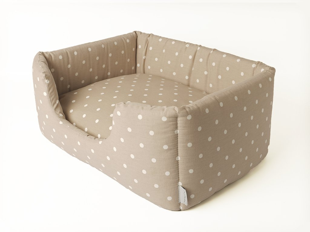 Deeply Dishy Dog Bed in Dotty Dove GreyTaupe