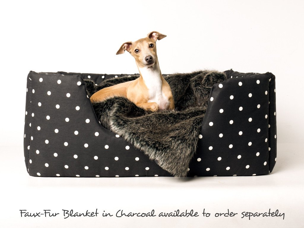 Deeply Dishy Dog Bed in Dotty Charcoal