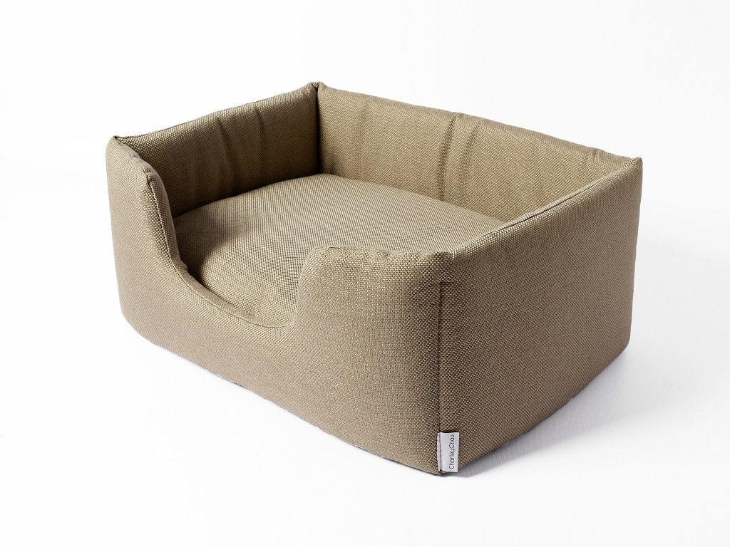Charley Chau Deeply Dishy Dog Bed in Weave Pewter
