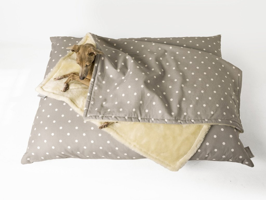 Charley Chau Faux-Fur Fleece Comforter in Dotty Dove Grey