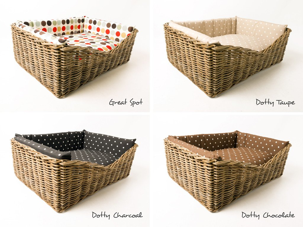 Rattan Dog Basket available dressed in four pretty cotton prints