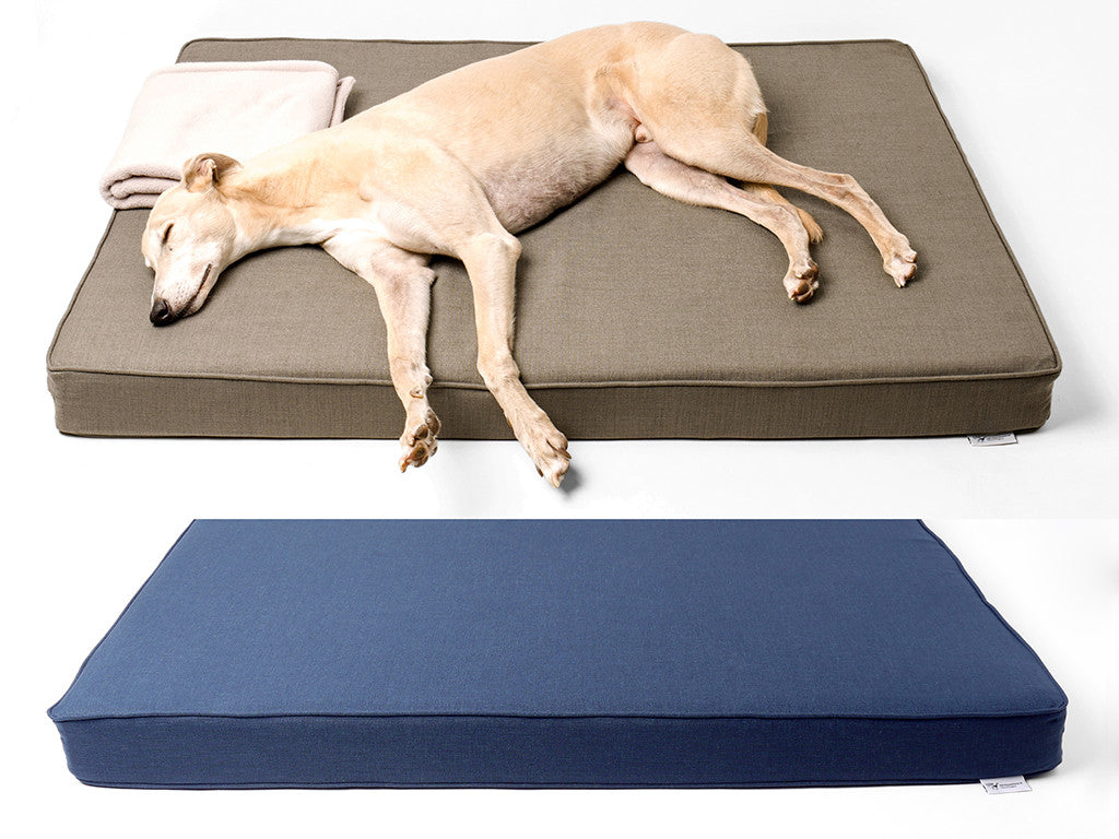 The GRWE Big Memory Foam Dog Bed by Charley Chau in Earth and Navy