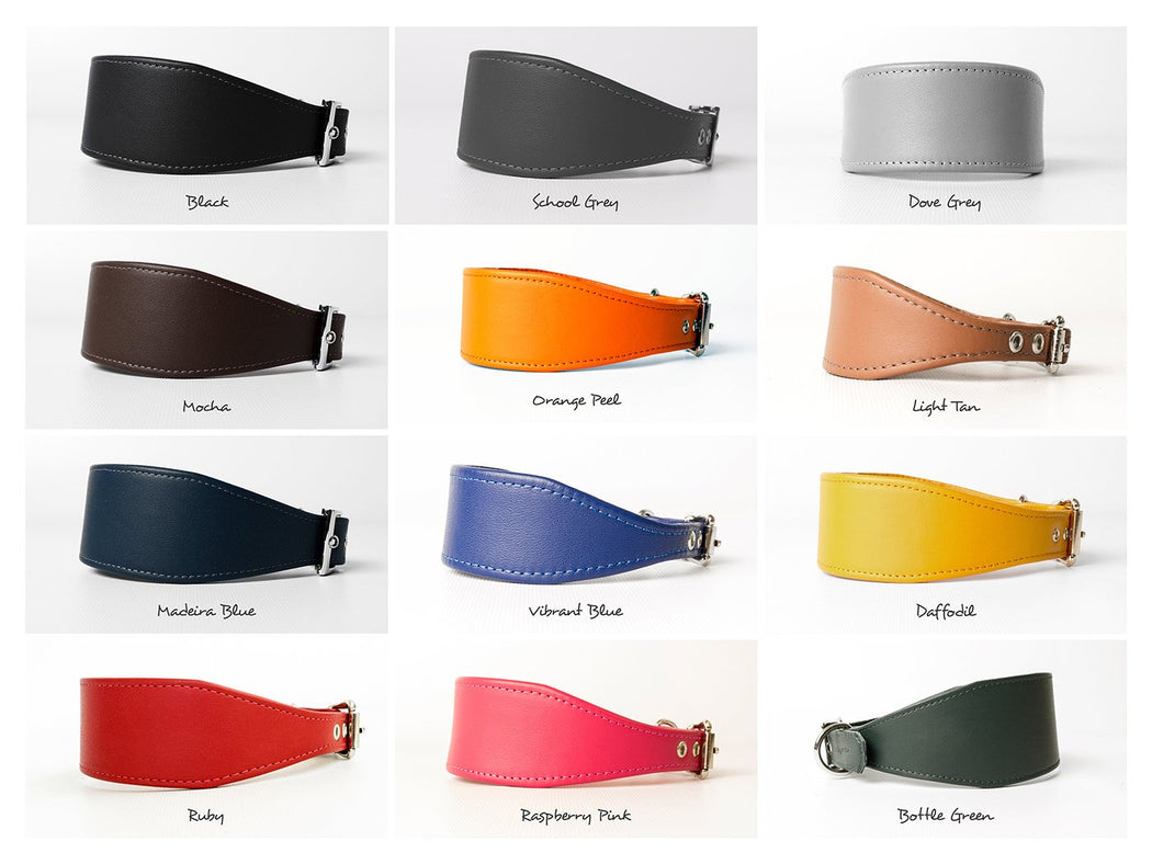 Bespoke leather Italian Greyhound collars in twelve gorgeous colours